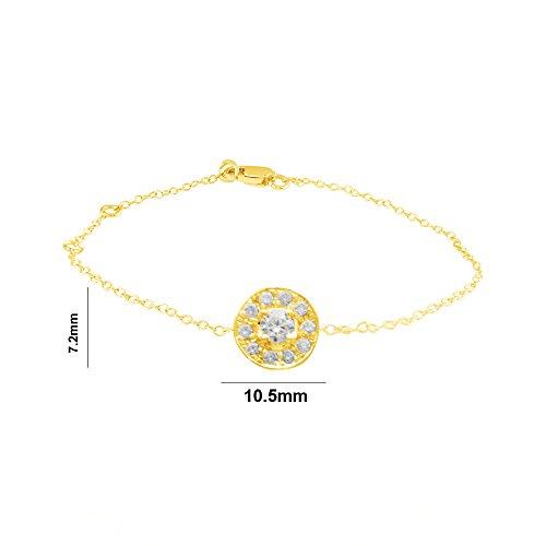 Libertini Bracelet argent 925 plaque or Jaune serti de Diamant en forme de Rond