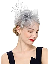 7a014433 Flower Cocktail Tea Party Headwear Feather Fascinators Top Hat for Girls  and Women