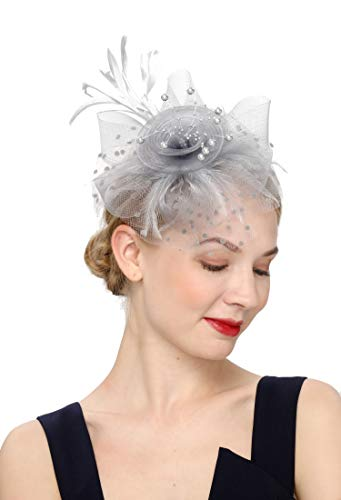 Cizoe Flower Cocktail Tea Party Headwear Feather Fascinators Top Hat for Girls and Women(1-Silver grey)]()