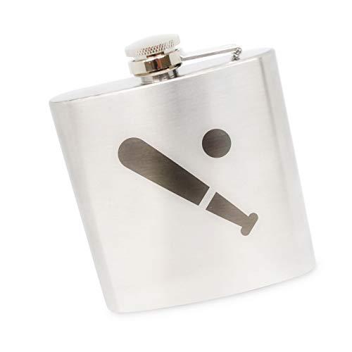 OKSLO Baseball stainless steel 6 oz flask. made in the usa. Baseball 6 Ounce Flask