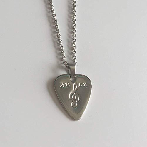 Silver Guitar Pick/Guitar Pick Necklace Pick/Personalized Fashinable Guitar Picks/Pendant Plectrum, 2PCS Chains
