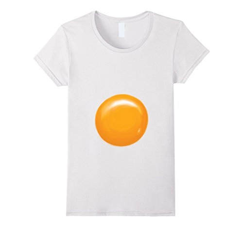 Womens Fried Egg Halloween Costume Shirt - Egg Yolk Large White