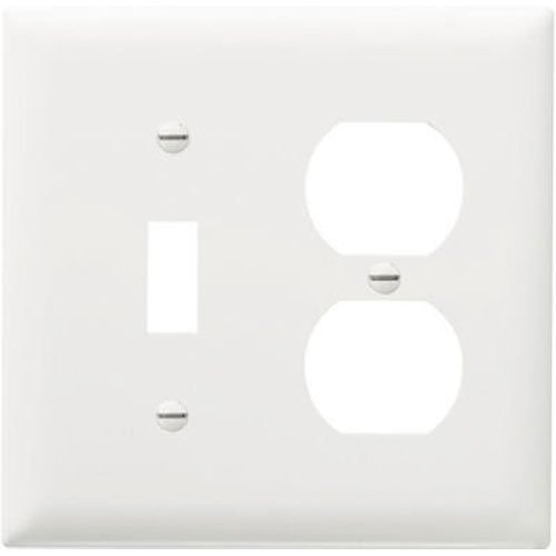 Legrand - Pass & Seymour SPO18WU Plastic Wall Plate Jumbo Two Gang Toggle/Duplex with Out Line, White Duplex Out Wall Plate