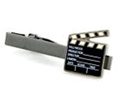 [Mondaily - Clapperboard Film Director Movie Producer Tie Clip Silver Black Wedding Clasp #PPTE5046] (Cats Musical Costume Rental)
