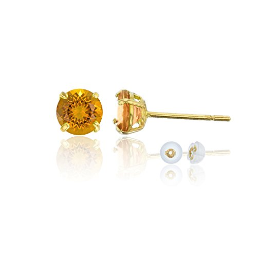 And Citrine Diamond Earrings (14K Yellow Gold 6mm Round Madeira Citrine Stud Earring)