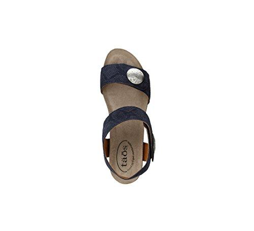 Taos Footwear Womens Carousel 2 Sandalo In Pelle Blu Scamosciato In Rilievo