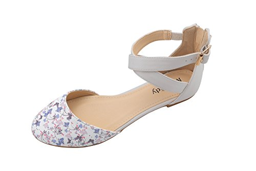 (Mila Lady (Kay Womens Pointed Toe Ankle with Floral Print D'Orsay Flat Sandals,White/FL5.5)