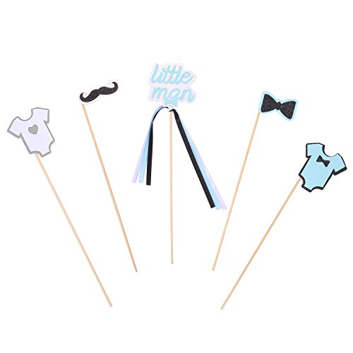 Pack of 15 Blue Little Man Mustache Onesie Centerpiece Sticks for Baby Shower Birthday Party Table Topper Decorations -