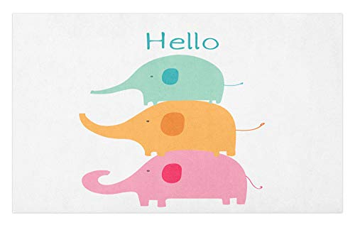 Ambesonne Elephant Doormat, Baby Stacked Elephants with Hello Calligraphy, Decorative Polyester Floor Mat with Non-Skid Backing, 30