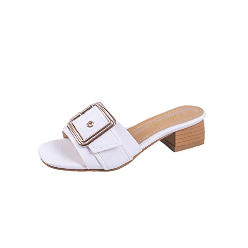 Sandals Slide Womens Block White ToeMules Slippers Heel Open Shoes Bq0AwP4