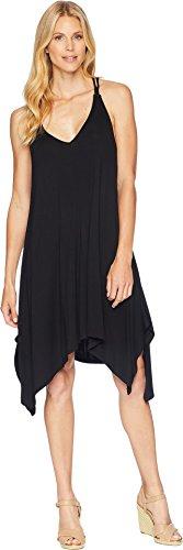 American Rose Women's Taya Spaghetti Strap Dress with Crocheted Back Black Small
