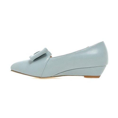 Amoonyfashion Donna A Punta Chiusa Tacco Basso Solido Tira Su Pumps-shoes Blu