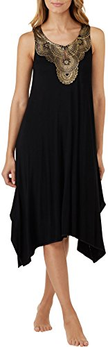 Ellen Tracy Womens Medallion Keyhole Nightgown Small Black/gold (Keyhole Nightgown)