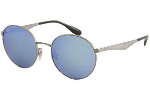 Ray-Ban RB3537 Round Metal Sunglasses, Gunmetal/Blue Mirror, 51 mm