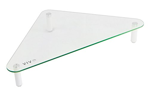 VIVO Glass Ergonomic Tabletop Riser | Triangle Desktop Universal Corner Stand for Computer Monitor & Laptop (STAND-V000Q)