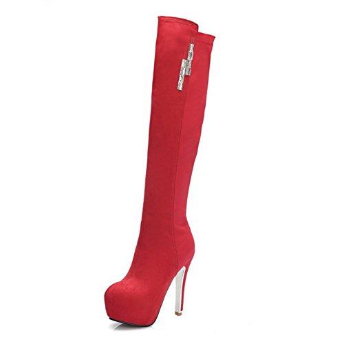 AgooLar Damen Knie Hohe Schnüren Blend-Materialien Hoher Absatz Rund Zehe Stiefel, Schwarz, 39