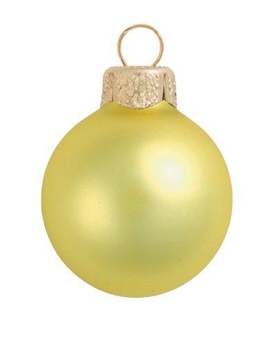 12ct Matte Soft Yellow Glass Ball Christmas Ornaments 2.75