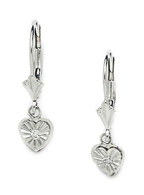 14k White Gold Heart Drop Leverback Earrings - Measures 23x6mm
