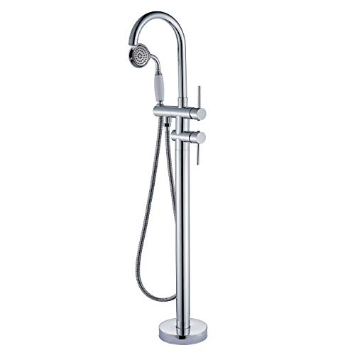 - Senlesen Freestanding Bathtub Faucet Tub Filler Faucets Floor Mounted Brass Bathroom Faucets with Handheld Shower Chrome Polished