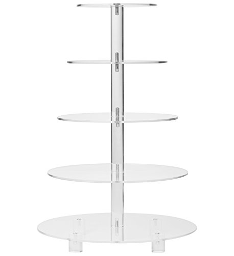 YestBuy 5 Tier Round Wedding Party Acrylic Cake Cupcake Tree Tower Maypole Display Stand 1 pc/Pack (Normal 5 Tier Round with Base) - Cupcake Wedding Tower Cake