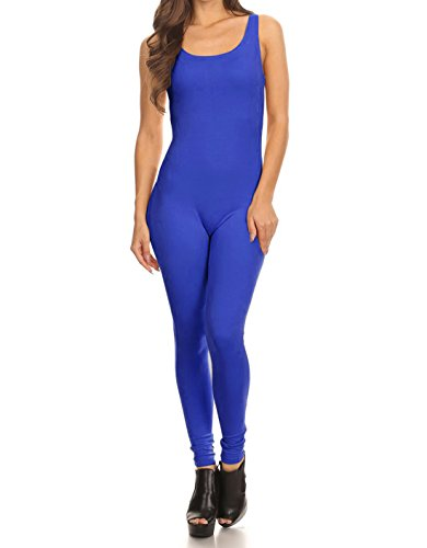 The Classic Womens Stretch Cotton Sleeveless One Piece Unitard Jumpsuit Bodysuits Small to Plus (Small, N/Blue) ()