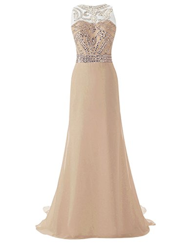 Gown Evening Beading Prom Champagne Long Dress Dress Top Party JAEDEN Chiffon Crystal qwAYOqxX