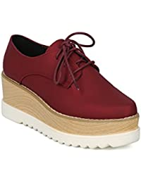 Women Pointy Toe Lace Up Double Stacked Platform Spectator Creeper HF53