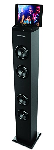 sharper-image-bluetooth-tower-speaker-with-a-docking-station-fm-radio-40-tall-stereo-sound-system