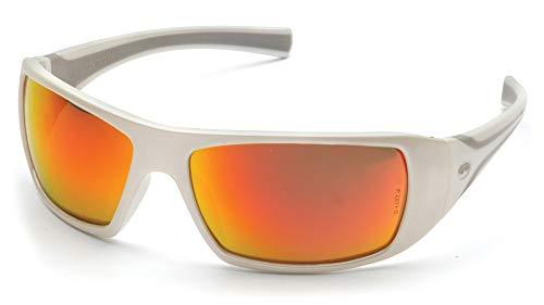 Pyramex Goliath Safety Eyewear, White Frame, Indoor/Outdoor Mirror ()