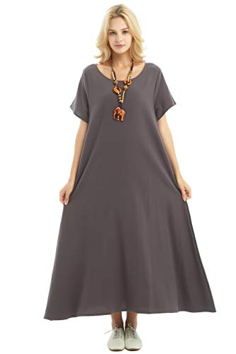 Anysize Side Pockets Linen Cotton Soft Loose Dress Spring Summer Plus Size Clothing F131A Gray