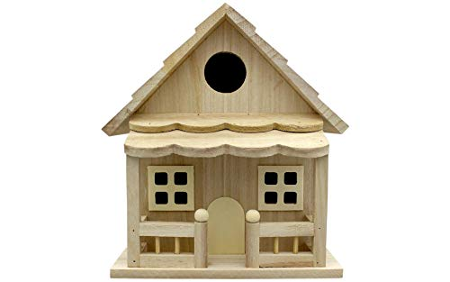 Darice 30024507 Birdhouse with Front Porch, 18.5 inch Wood Bird House Multicolor