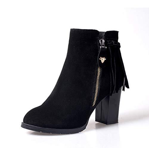 [ツネユウシューズ] ショートブーツ レディース 黒 ショートブーツ ヒール 太ヒール 8cm サイドジッパー ブーティ 歩きやすい ブーティ 靴 歩きやすい 袴 ハイヒール タッセル ブーツ スエード チャンキーヒール 旅行 痛くない 疲れない 靴