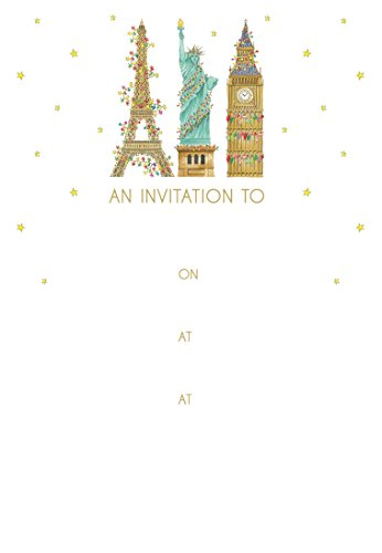 Entertaining with Caspari City Of Lights Fill In Invitations With Envelopes (8 Pack), Gold ()