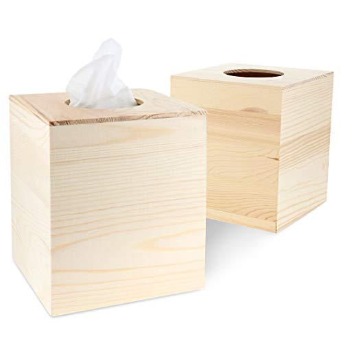 Juvale 2-Pack Unfinished Natural Wood Tissue Box Cover Holder for DIY Wooden Crafts, 5 x 5.5 ()