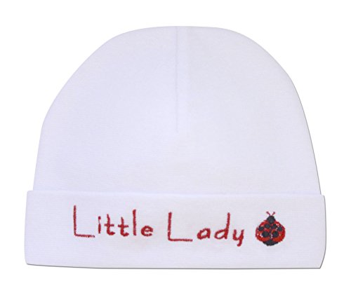 Little Bitty Hat - Itty Bitty Baby Embroidered Cap (Little Lady White, 0-6 Months (6-15lbs))