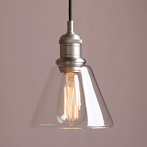 Clear Glass Mini Pendant - 1-Light Vintage Edison Hanging Pendant Light, Yosoan Mini Funnel Flared Glass Clear Glass Shade for Kitchen Bathroom Porch Living Room Dinning Room Office Restaurants Hotels Bar Island(Brushed)