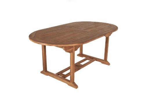 SAM® A Klasse Teak-Holz Gartentisch, Ausziehtisch Bandar, Holztisch mit Sonnenschirmloch, aus Massivholz, ideal für den Garten