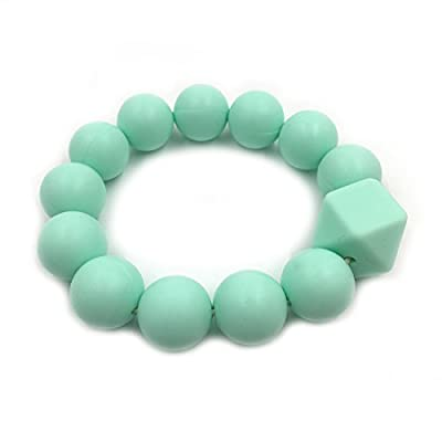 Wendysun Baby Teether Gift Silicone Bracelet BPA Free Silicone Beads Teething Chew Jewelry Food Grade Materials DIY Baby Teether Toys (Mint Color): Arts, Crafts & Sewing