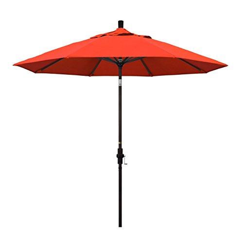 California Umbrella 9' Round Aluminum Market Umbrella, Crank Lift, Collar Tilt, Bronze Pole, Sunbrella Jockey Red