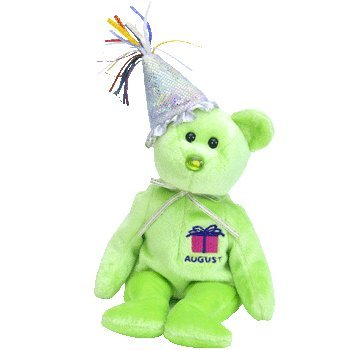 TY Beanie Baby - August the Teddy Birthday Bear (w/ hat)