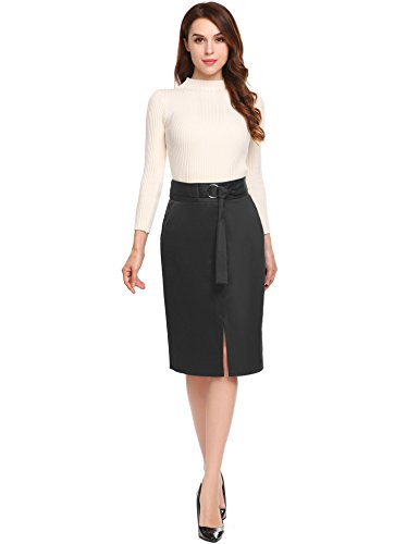 (Zeagoo Women's Elastic Waist Band Stretchy Midi Pencil Skirt)