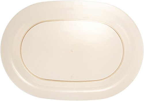 Amscan Oval Plastic Party Platter Snack and Salad Serve Ware (1 Piece), Gold, 16 3/8