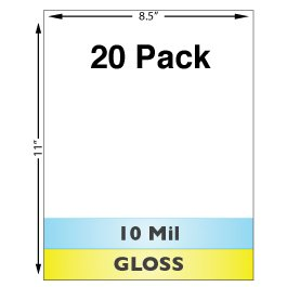- 10 Mil Gloss Full Sheet Laminates - 20 Pack