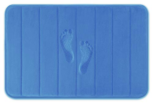 Yimobra Memory Foam Bath Mat Large Size 31.5 by 19.8 Inches, Comfortable, Soft, Maximum Absorbent, Machine Wash, Non-Slip, Thick, Easier to Dry for Bathroom Floor Rug, Blue