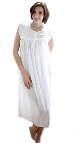 Cottonreal Victorian 100% Cotton Sleeveless Nightdress - XS to XXL - White  Nightie 81a929c3d