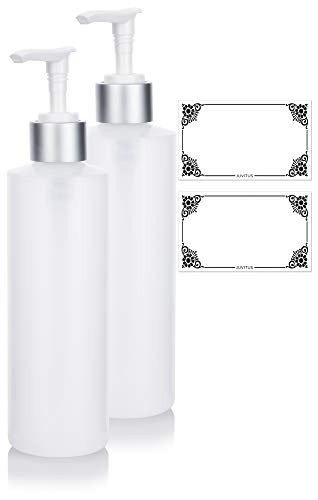 (Clear Natural Refillable Plastic Squeeze Bottle with Silver Pump Dispenser - 8 oz (2 Pack) + Labels)