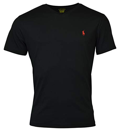Polo Ralph Lauren Mens Classic Fit V-neck T-shirt (X-Large, RL Black)