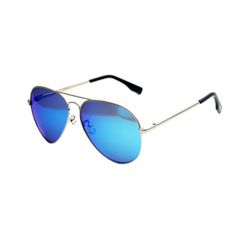 Zacway Polarized Spring Hinges Metal Aviator Sunglasses For Men Women UV400 58mm (Silver Frame/Mirror Blue Lens, - Aviator Silver Card
