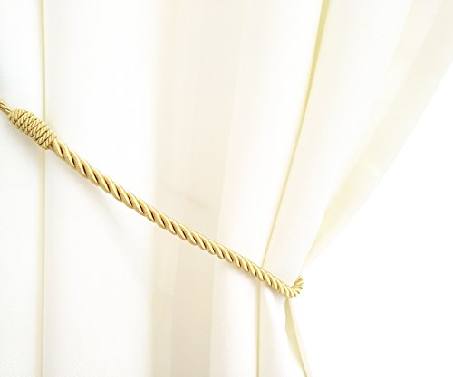 Chictie 1 Pair Long Hand Knitting Curtain Rope Cord Rural Tie Backs Holdbacks for Large Thick Curtain Drapery (Gold) - Large Curtain Holdback