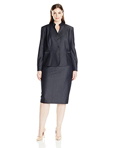 Tahari-by-Arthur-S-Levine-Womens-Plus-Size-Chambray-Skirt-Suit